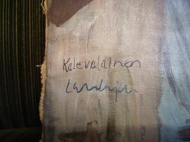 Taulu Wille Salonen signeerattu Kalevala aihe