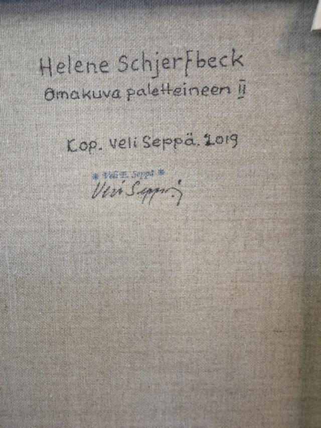 Taulu signeerannut Veli Seppä. H. Schjerfbeckin mukaan