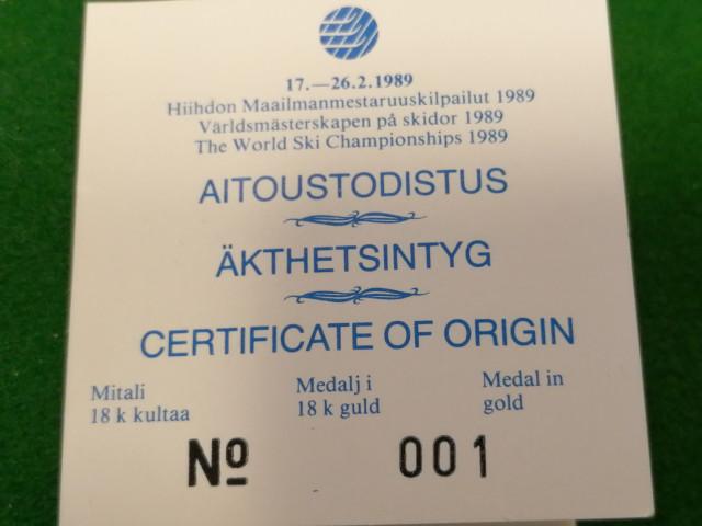 Lahden MM Kisojen 1989 Kultainen Muistomitali Nro.001