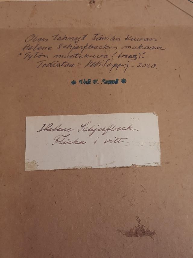 Taulu Veli Seppä signeerattu H.Schjerfbeckin mukaan