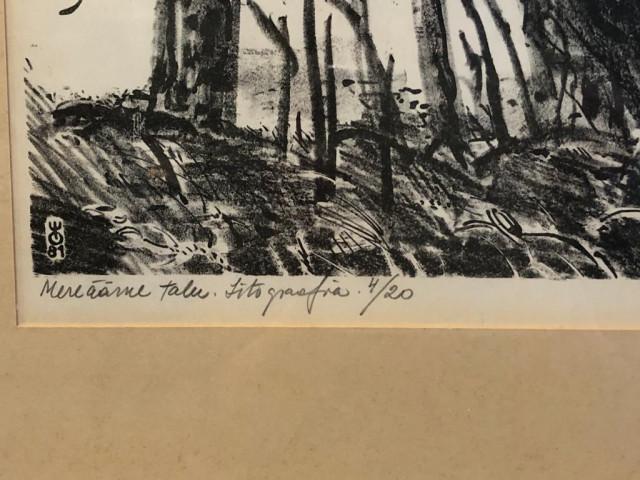 Litografia signeerattu meren äärellä