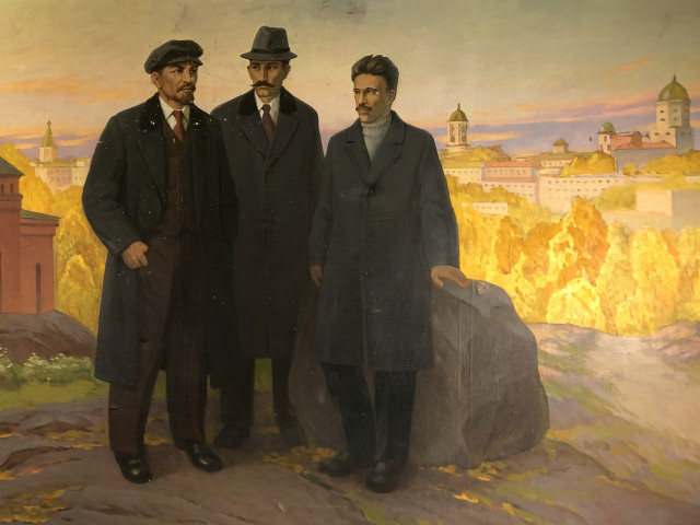 Taulu Lenin ja Eino Rahja Viipurin edustalla öljy kankaalle signeerattu.