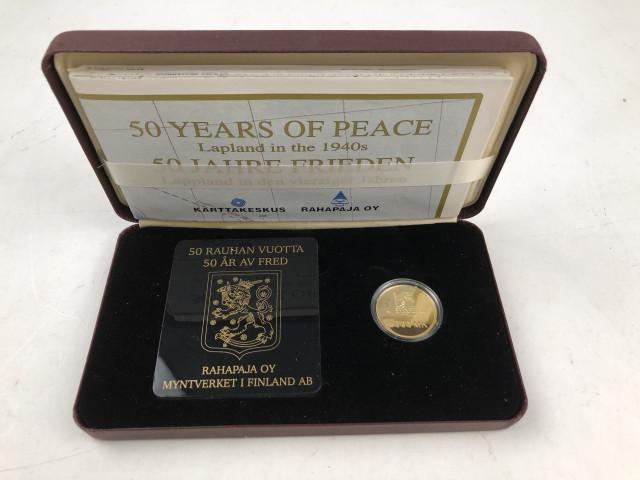 """Kultainen juhlaraha """"50 rauhan vuotta"""""""