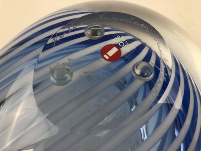 Nuutajärvi lasikulho Kerttu Nurminen signeerattu