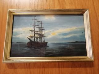 Vanha merimaalaus signeerattu