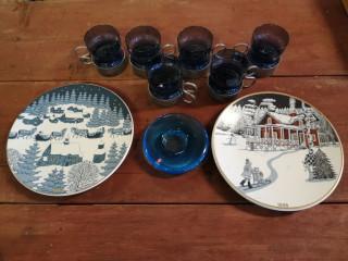 Arabia lautaset ja Tsaikka lasit