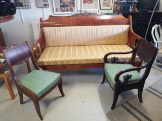 Biedermaier kalusto sohva ja kaksi tuolia