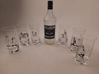 Kari Suomalainen laseja ja Wirkkala pullo