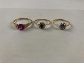 Kultaiset kivi/timanttisormukset