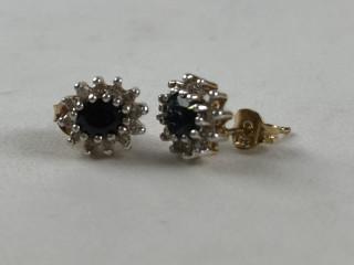 Kultaiset timantti/safiiri korvakorut
