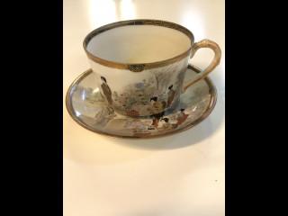 Japanilainen käsinmaalattu kahvikuppi 1800 luku